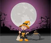 Cartoon witch girl on halloween cemetery background