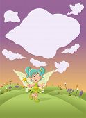 Cute cartoon fairy girl on colorful nature background