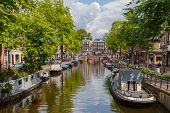 City View Of Amsterdam Canal, Holland, Netherlands.