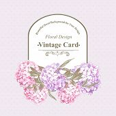 Постер, плакат: Vintage Greeting Card with Hydrangea and Peonies