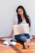 beautiful young woman relax and work on laptop computer modern  home office