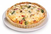 Quiche with broccoli and vegetables on a white plate. File contains clipping paths.