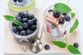 Fruit ice cream with ripe blueberries