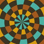 Wallpaper In Concentric Circular Composition In Retro Colors