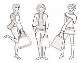 Beautiful women with a shopping bag (vector illustration for coloring book)