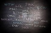 internet slang on classic slate blackboard