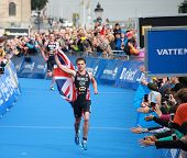 Jonathan Brownlee on the finish of the Mens triathlon
