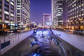 Seoul, South Korea cityscape at Cheonggye Stream.