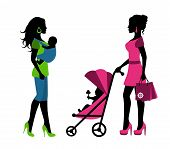 women with children in a sling and stroller