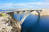 Tall bridge to island of Pag in Croatia