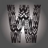 Letter W . Vector Illustration
