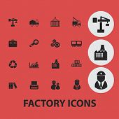 factory, industry, business isolated icons, signs, symbols, illustrations, silhouettes, vectors set
