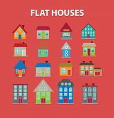 flat houses isolated icons, signs, symbols, illustrations, silhouettes, vectors set