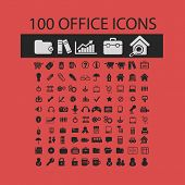 100 office, document isolated icons, signs, symbols, illustrations, silhouettes, vectors set
