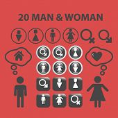 20 man, woman, wc, chat isolated icons, signs, symbols, illustrations, silhouettes, vectors set