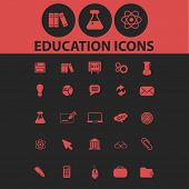 education isolated icons, signs, symbols, illustrations, silhouettes, vectors set