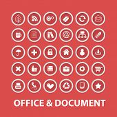 office, document, presentation isolated buttons, icons, signs, symbols, illustrations, silhouettes,