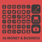 36 money, business, ecommerce isolated icons, signs, symbols, illustrations, silhouettes, vectors se