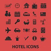 hotel services, room services, tv, restaurant, washmashine isolated icons, signs, symbols, illustrat