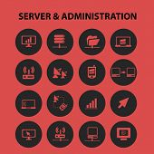 server administration, network, internet transfer isolated icons, signs, symbols, illustrations, sil