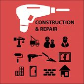 construction, repair, house isolated icons, signs, symbols, illustrations, silhouettes, vectors set