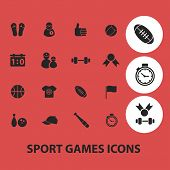 fitness, sport, games isolated icons, signs, symbols, illustrations, silhouettes, vectors set