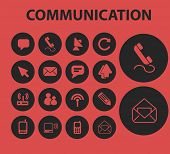 mail, message, communication isolated icons, signs, symbols, illustrations, silhouettes, vectors set