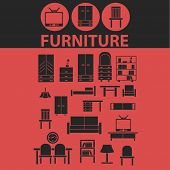 furniture, interiour design, room decoration isolated icons, signs, symbols, illustrations, silhouet