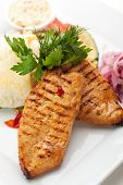 BBQ Chicken Breast on Grilled Vegetables with Lavash and Pickled Onions
