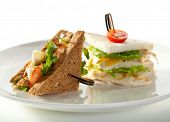 Club Sandwiches with Vegetables and Chicken