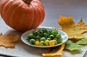 Small Tomatos And Pumkin With Autumn Leaves