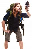 Male Hiker With Backpack And Camera Posing Isolated