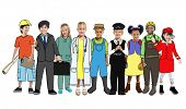 Multiethnic Group of People with Various Occupations Concept