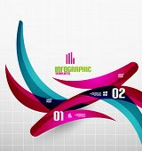 Modern fresh wave business infographics. Flowing wave shapes with sample numbers