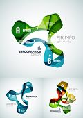 Set of modern fresh wave business infographics. Flowing wave shapes with sample numbers