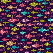 Bright Hand Drawn Seamless Background With Fishes