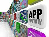 App tiles in a wall or stream illustrating a process of review or evaluation for selling in a marketplace for download to mobile devices