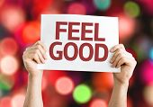Feel Good card with colorful background with defocused lights