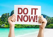 Do it Now! card with a beach on background