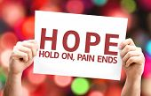 Hope - Hold On, Pain Ends card with colorful background with defocused lights