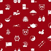 China Theme Icons White And Red Seamless Pattern Eps10