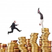 pile of euro coin on white background and business people