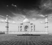 Taj Mahal. Indian Symbol - India travel background. Agra, India. Black and white version