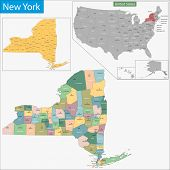 Map of New York state designed in illustration with the counties and the county seats