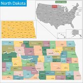 Map of North Dakota state designed in illustration with the counties and the county seats