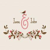 Wedding invitation card with flowers, eps10 vector