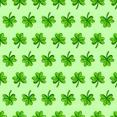 Hand drawn Clover leaf Seamless background vector