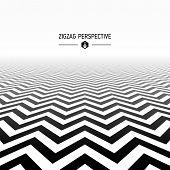 Zigzag pattern in perspective. Vector.