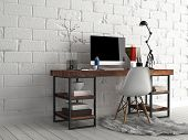3D Rendering of Architectural Design - Elegant Worktable with Computer, Lamp, Vase and Writing Supplies, Beside White Concrete Wall