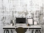 stock photo of 3d  - 3D Rendering of Stylish black and white home work space with a desktop computer and blank picture frames on a modern elegant desk with office supplies - JPG